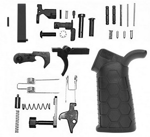AR-15 Lower Receiver Parts Kit with Rubber Hexmag Grip