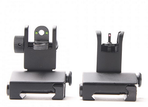 Mini Fiber Optics Flip Up Front & Rear Sights with Red and Green Dots